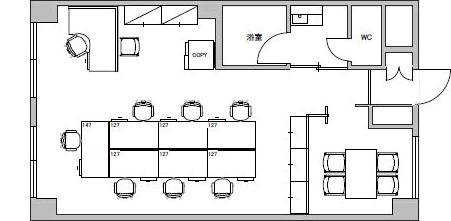 3.マンション・オフィス/貸室面積15坪/収容人数8人