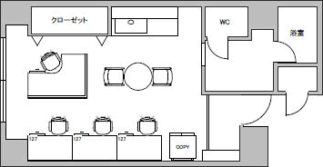 2.マンション・オフィス/貸室面積10坪/収容人数4人